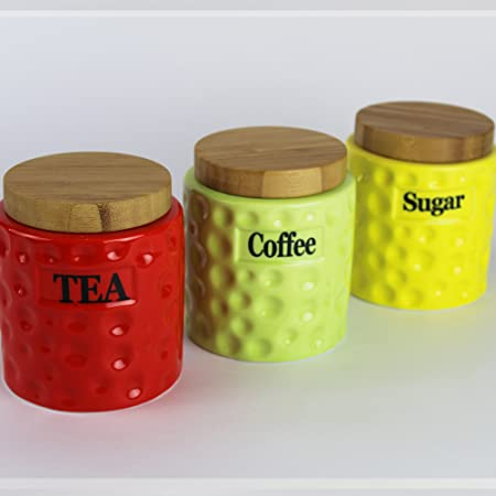 Set of 3 colour ceramic storage canisters tea coffee sugar jars with bamboo lid prime homewares