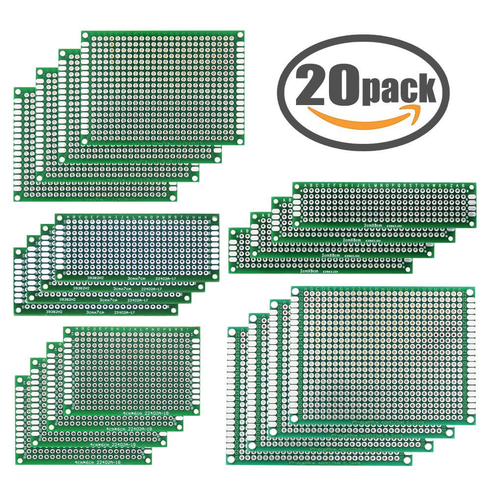 Printed Circuit Board 20 PCS PCB Universal Prototype Boards Double Sided Prototyping Board Breadboard for DIY Electronic Making with 5 Different Sizes