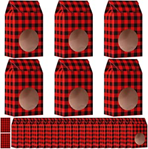 Aneco 24 Pack Red and Black Plaid Christmas Cookie Bags for Gift Giving Christmas Food Candy Treat Boxes with 30 Pieces Tag Stickers