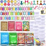 107PCS Slime kit Supplies Stuff Include Foam Beads Fishbowl Beads Glitter Jars Paper Sugar Accessories Slime Charms Shell Sli