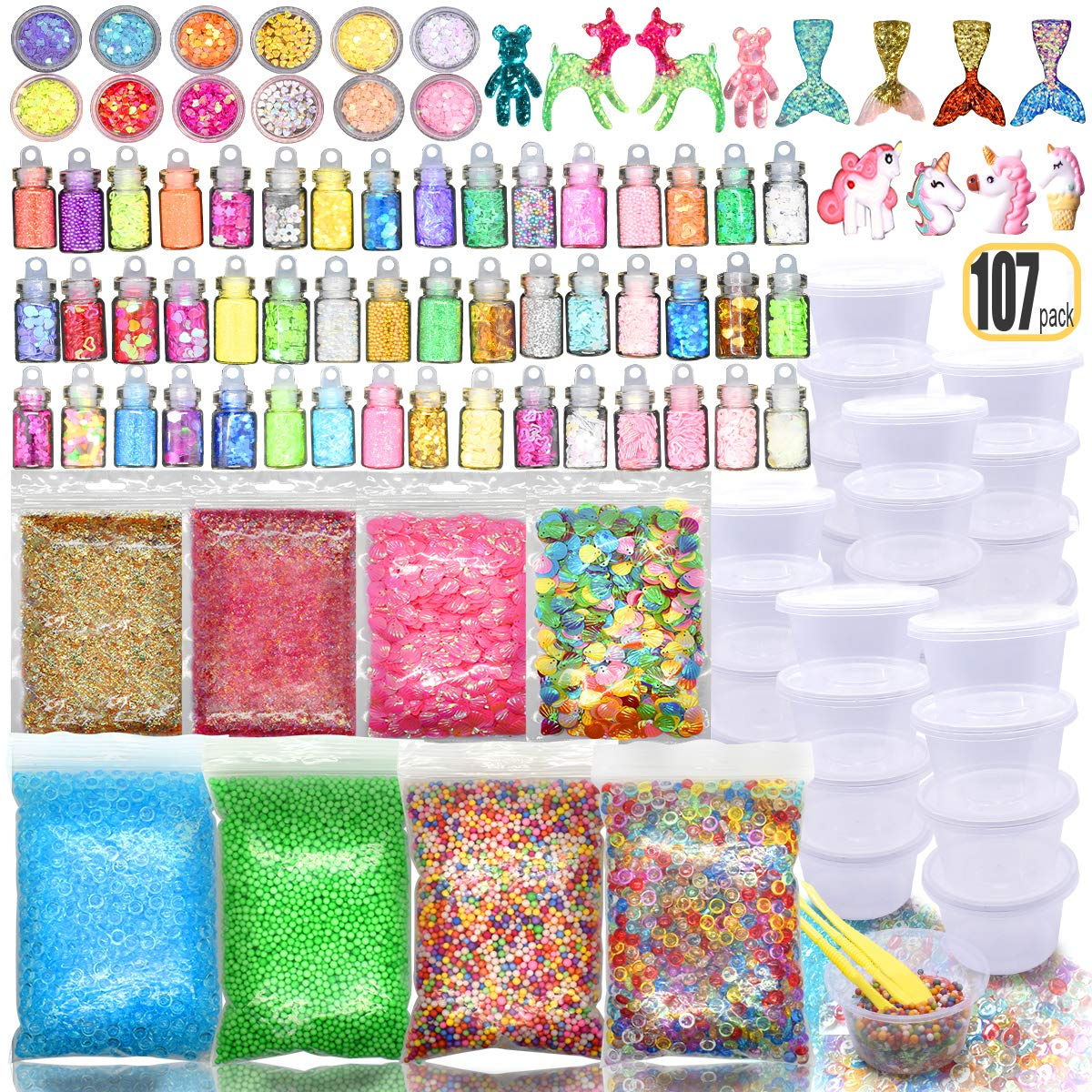107PCS Slime kit Supplies Stuff Include Foam Beads Fishbowl Beads Glitter Jars Paper Sugar Accessories Slime Charms Shell Slime Containers with Lids by Hulluter