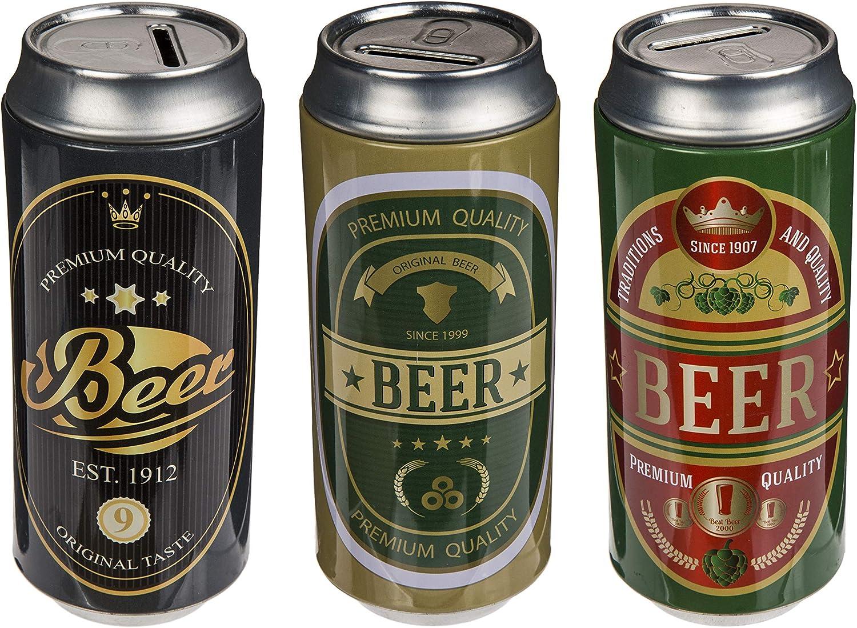 MC Trend - Juego de 3 latas de Metal en Forma de Lata de Cerveza, Regalo de Dinero, Idea Original de Cerveza, cumpleaños, día del Padre, Idea de decoración