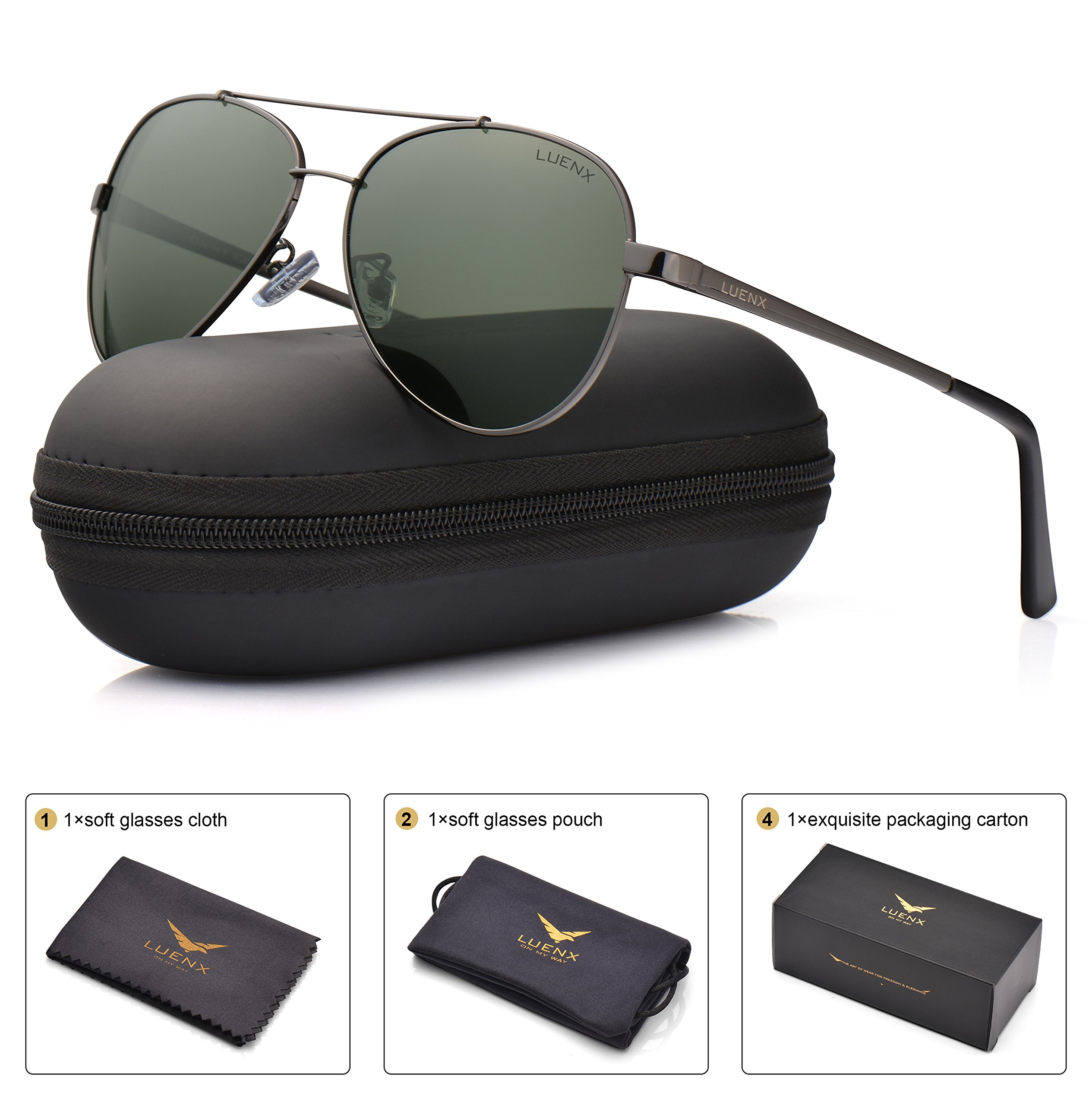 2f8ee4c946 LUENX Men Women Aviator Sunglasses Polarized Grey Green Lens Gun Metal  Frame with Accessories UV 400 60MM