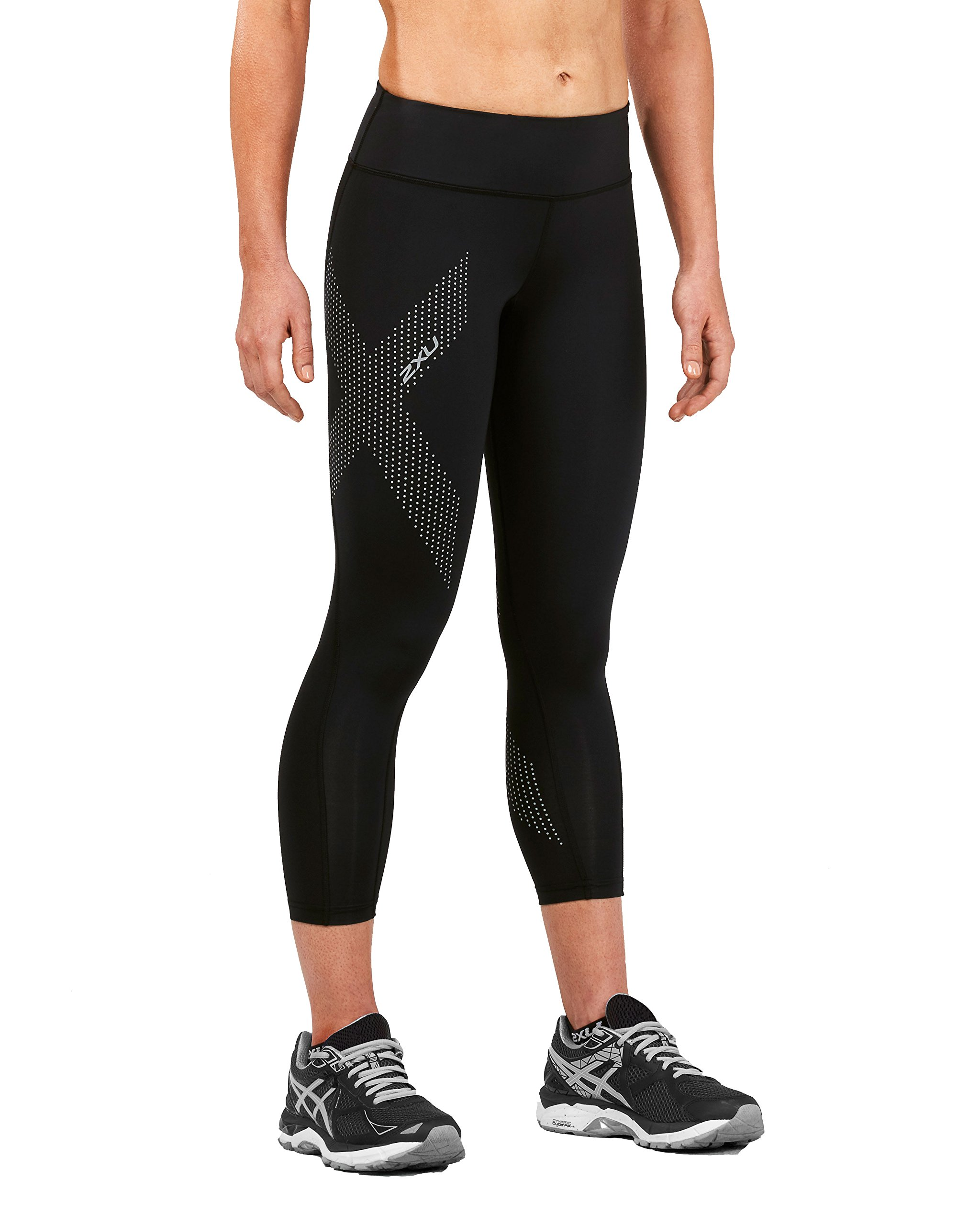 2XU Women's Mid-Rise Compression 7/8 Tights (Black/Dotted Reflective Logo, Small) by 2XU (Image #1)