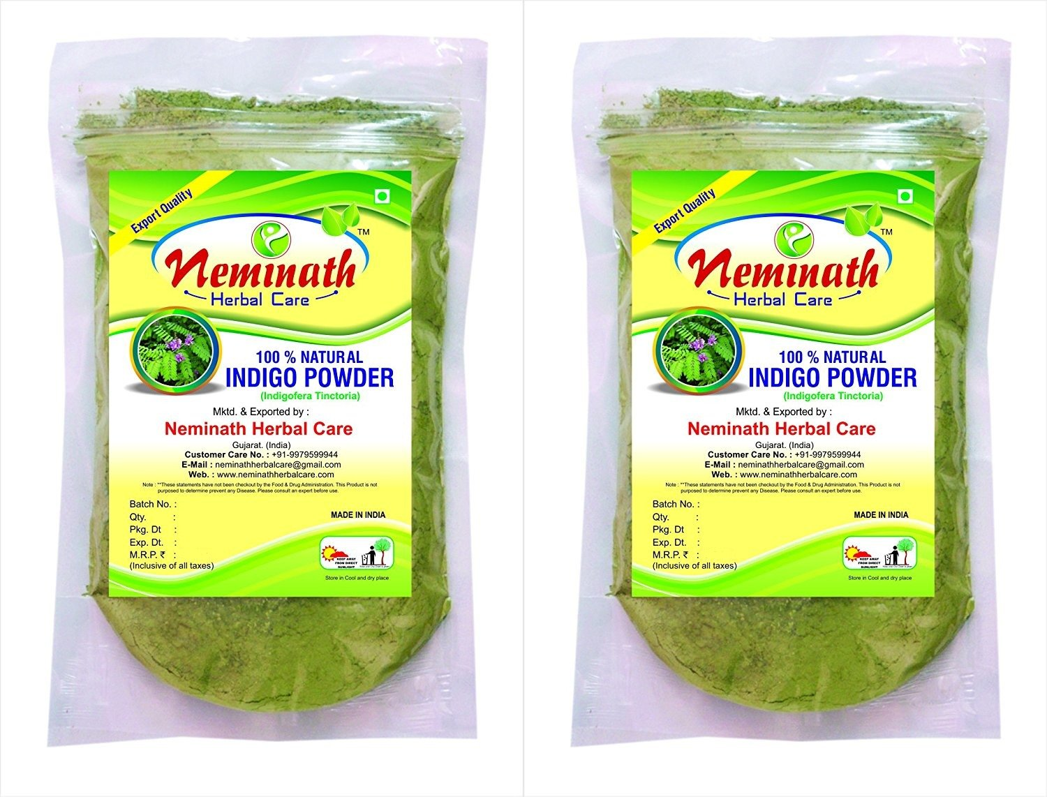 100% Natural Indigo Leaves (Indigofera Tinctoria) Powder Combo As Hair Colorant Naturally (454g) Neminath Herbal