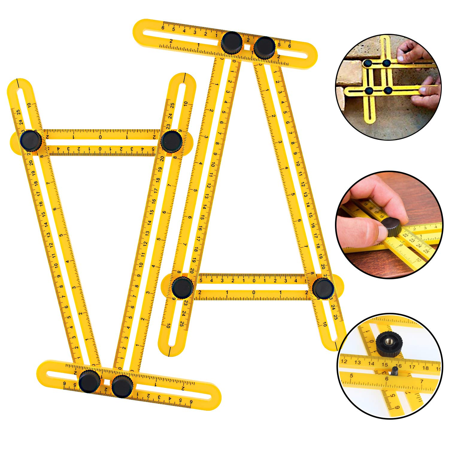 Aonesy Multi Angle Measuring Ruler Template Measurement Tool for All Angles Shapes Multi Functional Ruler Best for Craftsmen Handymen Builders Carpenter DIY Yellow 2Pack