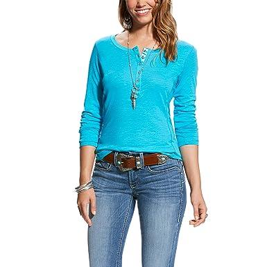 acb5f9b1 Ariat Women's Real Henley, Vanilla Ice, SML: Amazon.in: Clothing ...