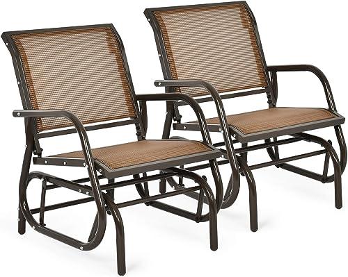 Giantex Swing Glider Chair W/Study Metal Frame Comfortable Patio Chair Love-Seat