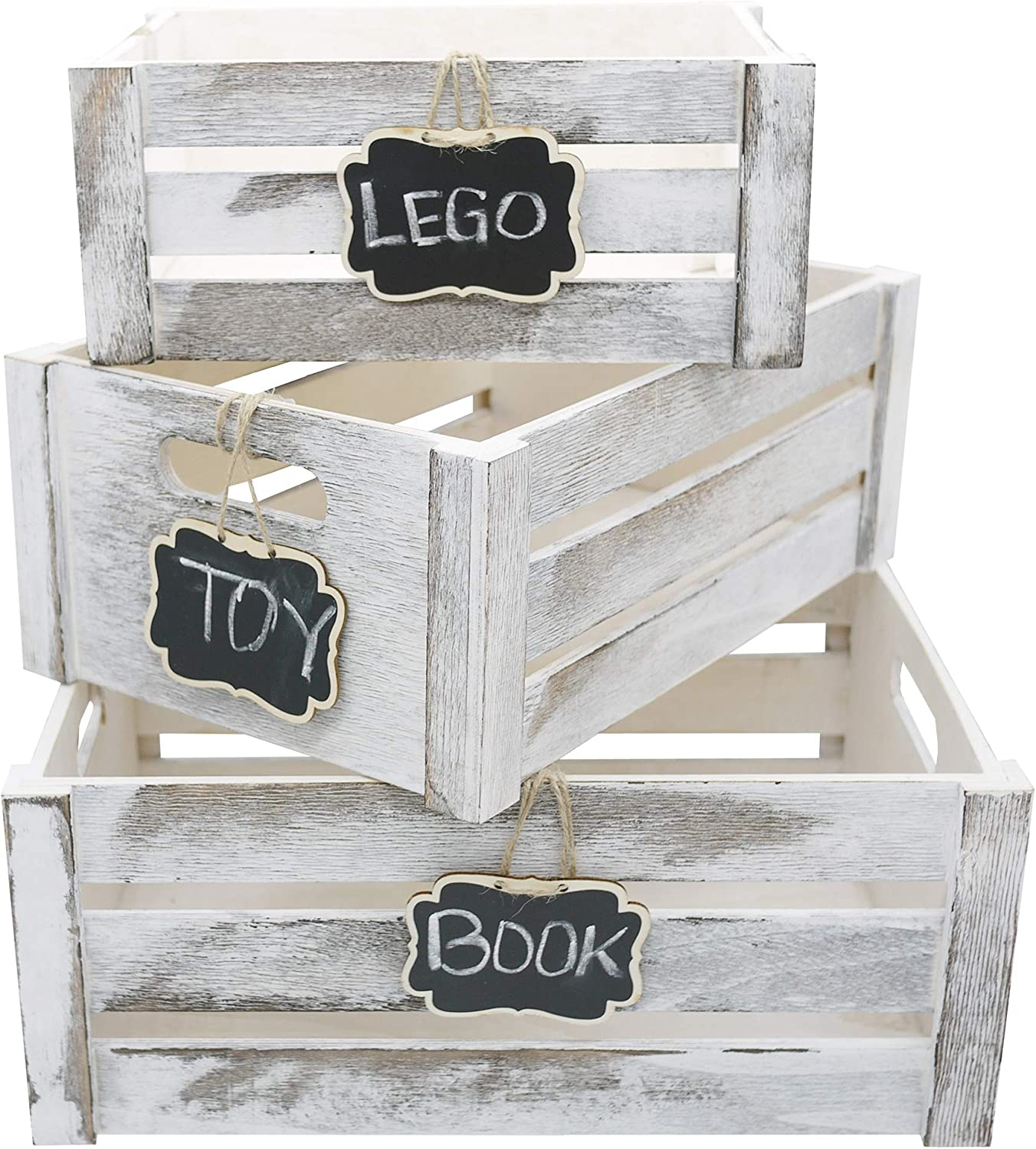Admired By Nature Home Décor Nesting Organizer Wooden Crates, With Chalkboard, Set of 3, Storage Container, Rustic White w/tag, 3 Count
