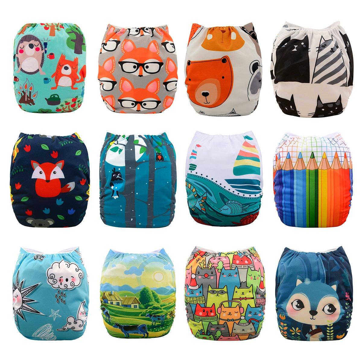 Babygoal Baby Cloth Diapers, One Size Adjustable Reusable Pocket Cloth Diaper Nappy 12pcs + 12pcs 4-Layers Antibacterial Bamboo Viscose Inserts 12FN07-2 Huapin
