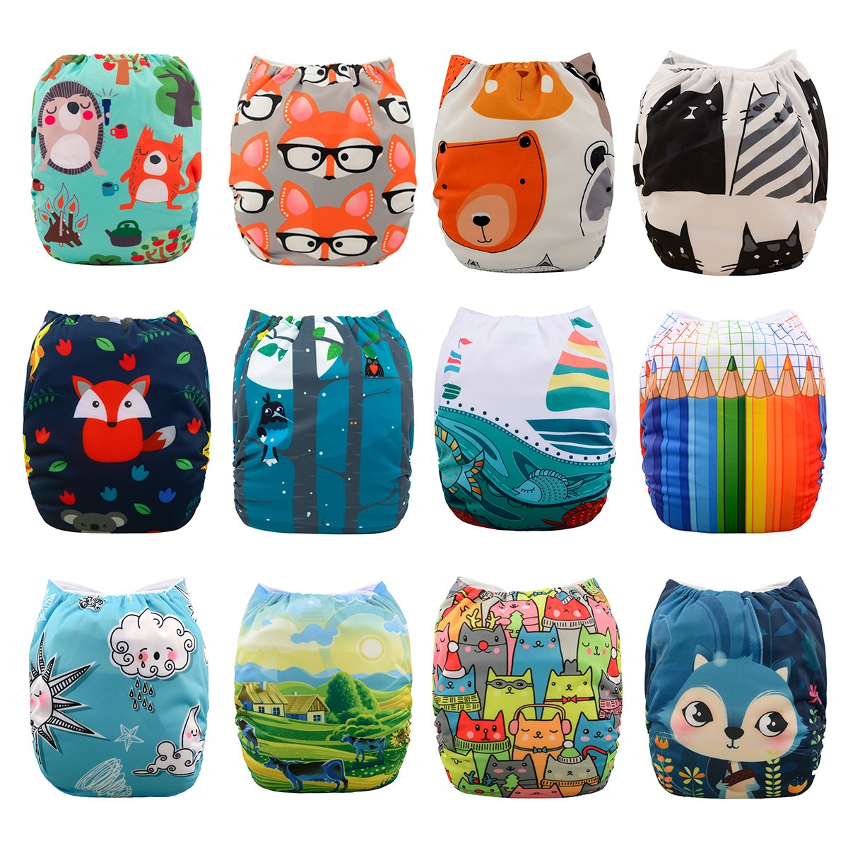 Babygoal Baby Cloth Diapers, One Size Adjustable Reusable Pocket Cloth Diaper Nappy 12pcs + 12pcs 5-layer Charcoal Bamboo Reusable Inserts+One Wet Bag+4pcs Baby Wipes 12FN07-3