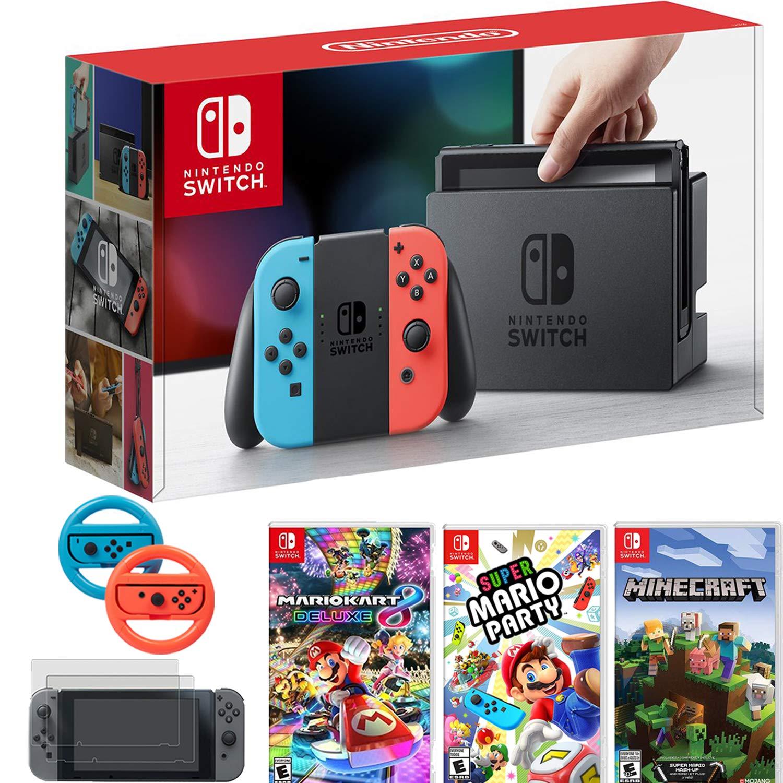 Nintendo Switch Console Blue/Red Joy Con + Mario Kart 8 Deluxe & Super Mario Party & More