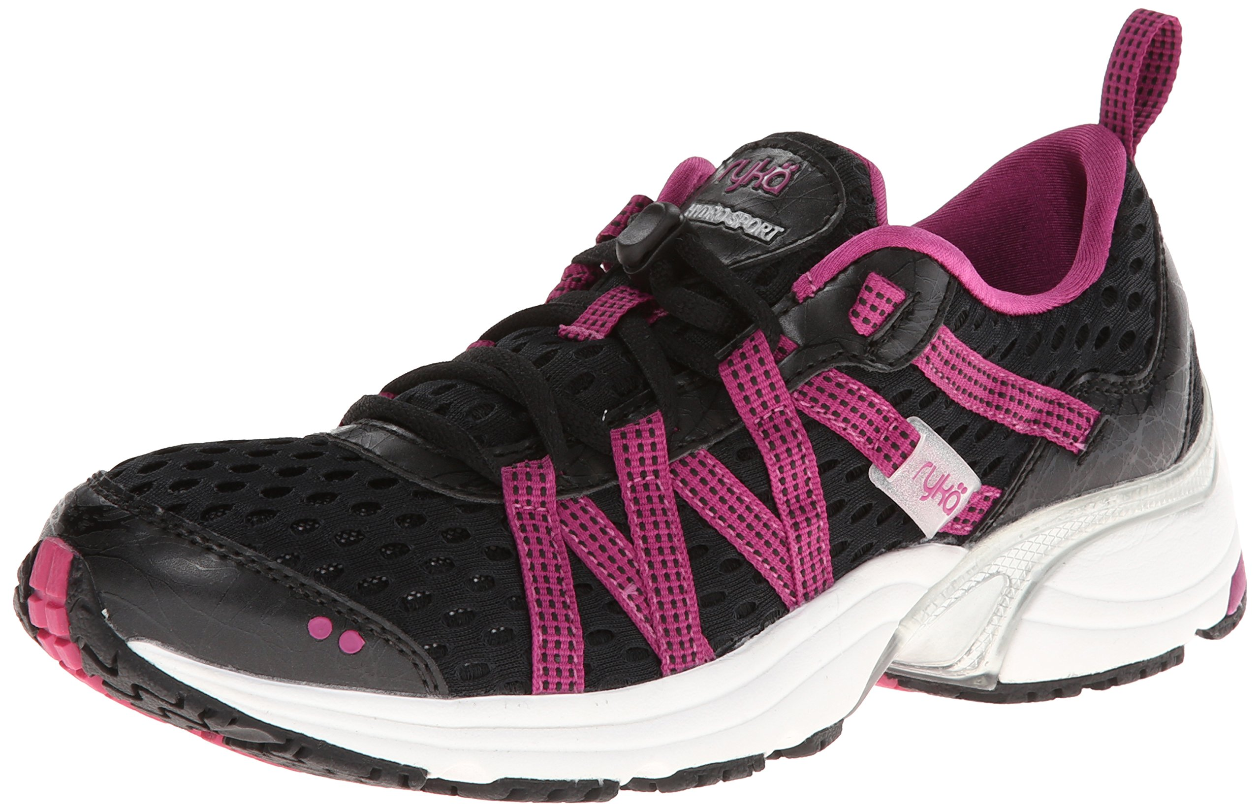 RYKA Women's Hydro Sport Water Shoe Cross Trainer, Black/Berry/Chrome Silver, 6.5 M US by Ryka