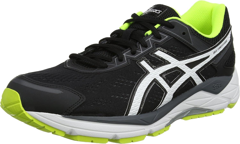 Asics Gel-Fortitude 7 (2e), Zapatillas de Running para Hombre, Negro (Black / White / Safety Yellow), 43.5 EU: Amazon.es: Zapatos y complementos