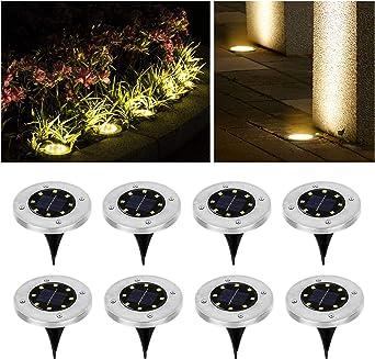 Wilktop Luces Solares para Jardín Lámpara Solar Lámpara Solar Lámpara de pie Blanco Cálido con 8 LED Lámpara de pie con Luz LED Exterior IP65 8er en el Conjunto Luz Solar Exterior: