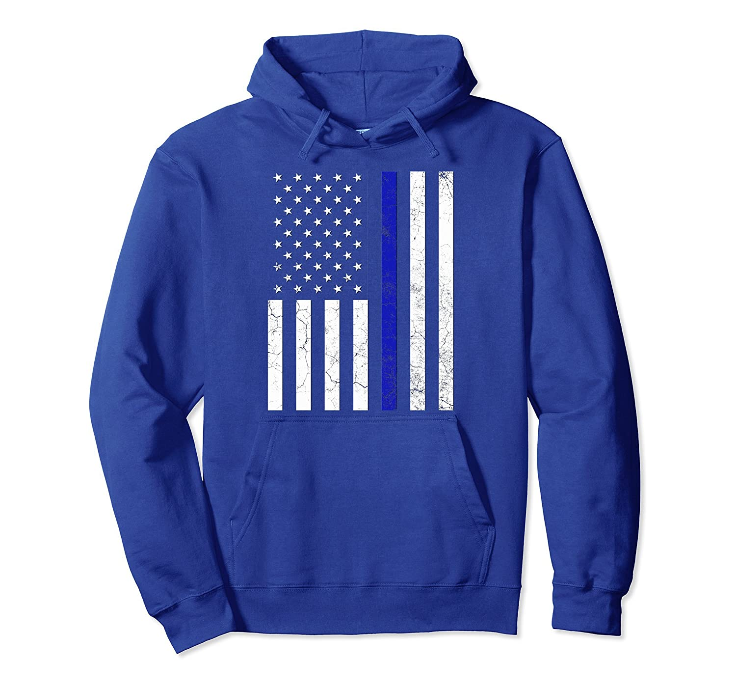 Thin Blue Line Police Flag Hoodie American Support Gift-alottee gift