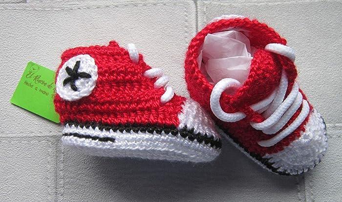 Zapatillas deportivas de crochet estilo converse para bebe, Talla 0 ...