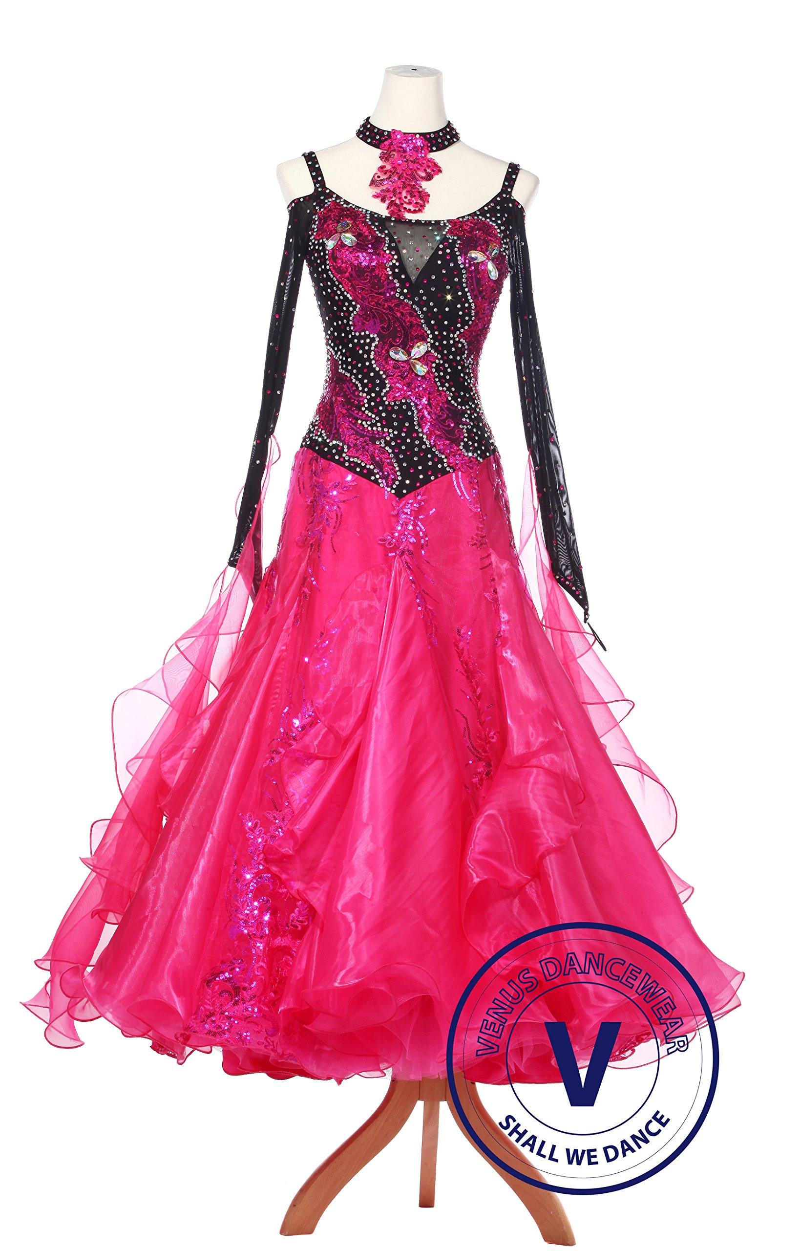 Venus Dancewear Black and Red Standard Ballroom Waltz Foxtrot Smooth Competition Dance Dress
