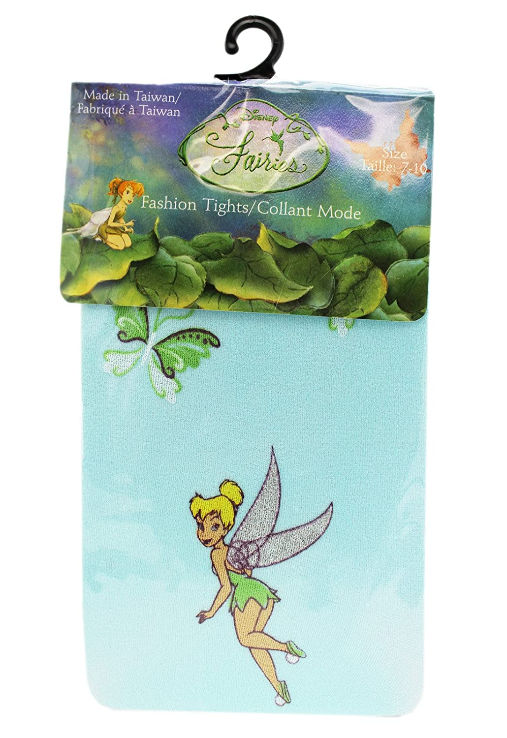 Disneys Tinker Bell Butterfly Themed Sky Blue Colored Kids Tights Size 4-6