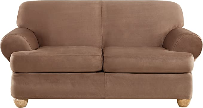 Sure Fit Ultimate Heavyweight Stretch Suede Individual 2 Piece T-Cushion Loveseat Slipcover - Luggage