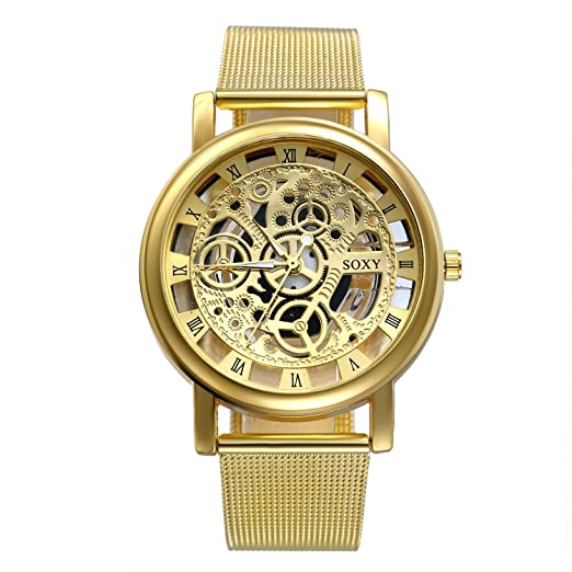 Hombre Mecánica Relojes con grabado Regalos, clásico Esqueleto Malla Acero inoxidable Reloj de pulsera, Business Casual - Mecanismo Reloj con Milanese ...