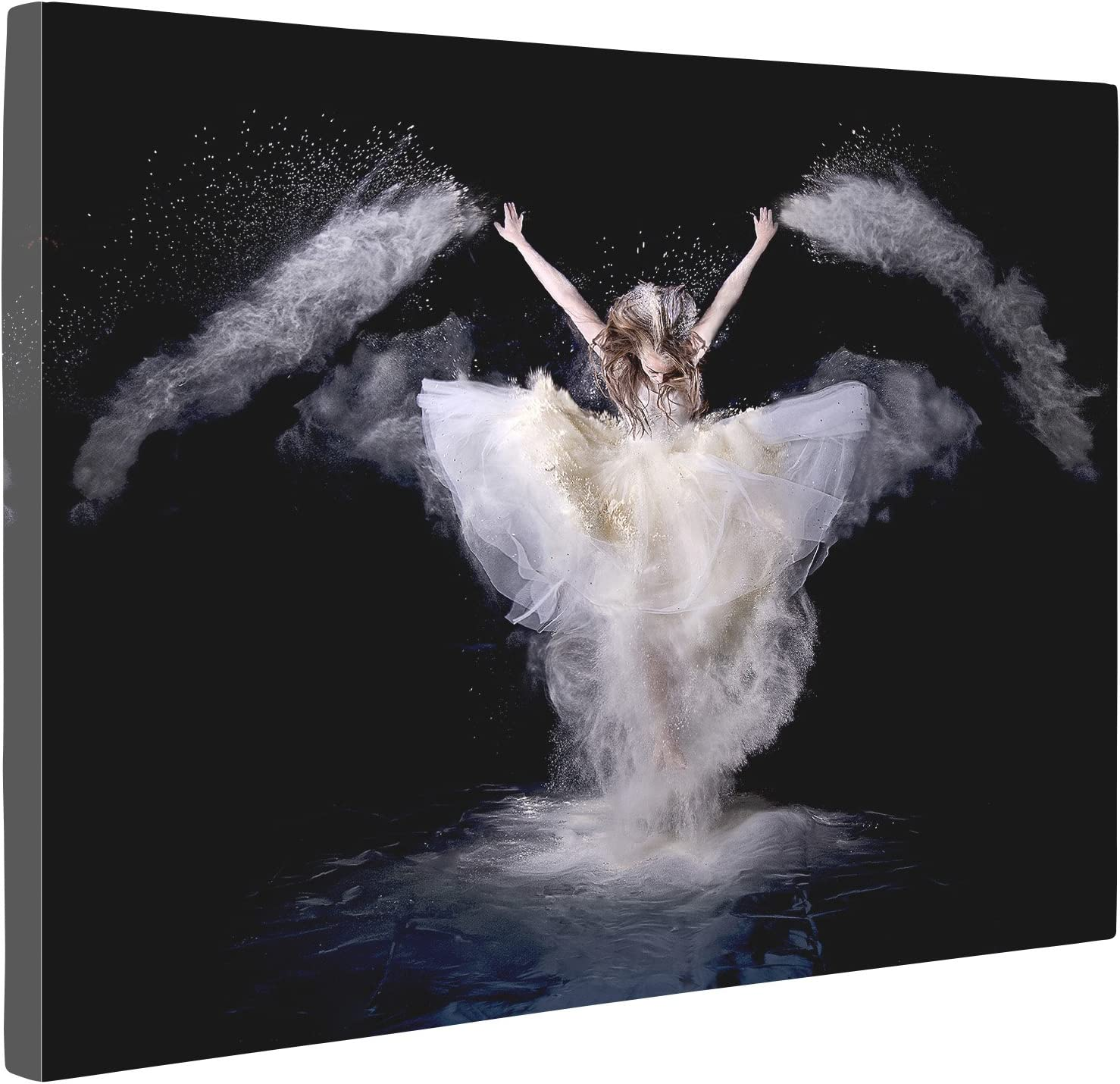 Niwo Art (TM - White Skirt Dancing Angel - Ballet Dancing Series. Modern Abstract Oil Painting Reproduction. Giclee Canvas Prints Wall Art for Home Decor, Stretched and Framed Ready to Hang