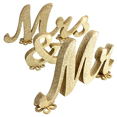 SROOD 30  x 6  Mr and Mrs Sign Wedding Decorations Mr & Mrs Sign Sweetheart Wedding Table Decorations Wooden Letters Gold Glitter