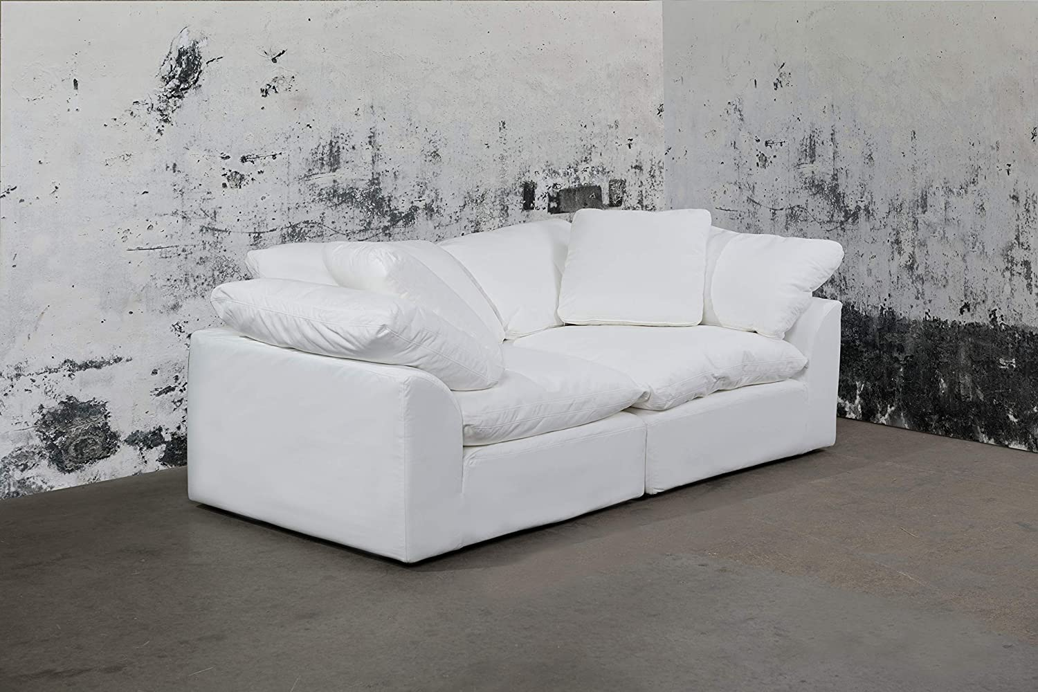 Admirable Sunset Trading Cloud Puff 2 Piece Modular Performance White Sectional Slipcovered Sofa Pabps2019 Chair Design Images Pabps2019Com