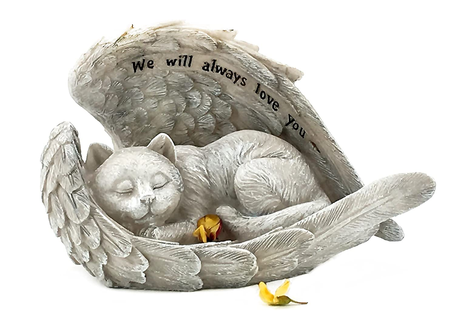 Elaan31 22878 Cat Sleeping in Angel Wings Pet Memorial Garden Statue We Will Always Love You