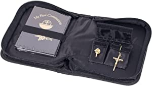 Boys First Communion Gift Set with Prayer Book, Lapel Pin, and Rosary in Black Faux Leather Folder
