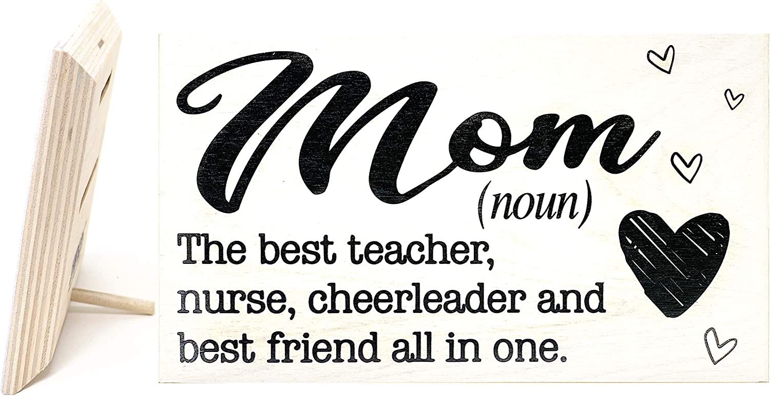 JennyGems Mom Sign - Mom The Best Teacher, Nurse, Cheerleader, and Best Friend All In One - Presents for Mom - Mom Gifts From Daughter, Mother's Day Gift for Mom, Real Wood