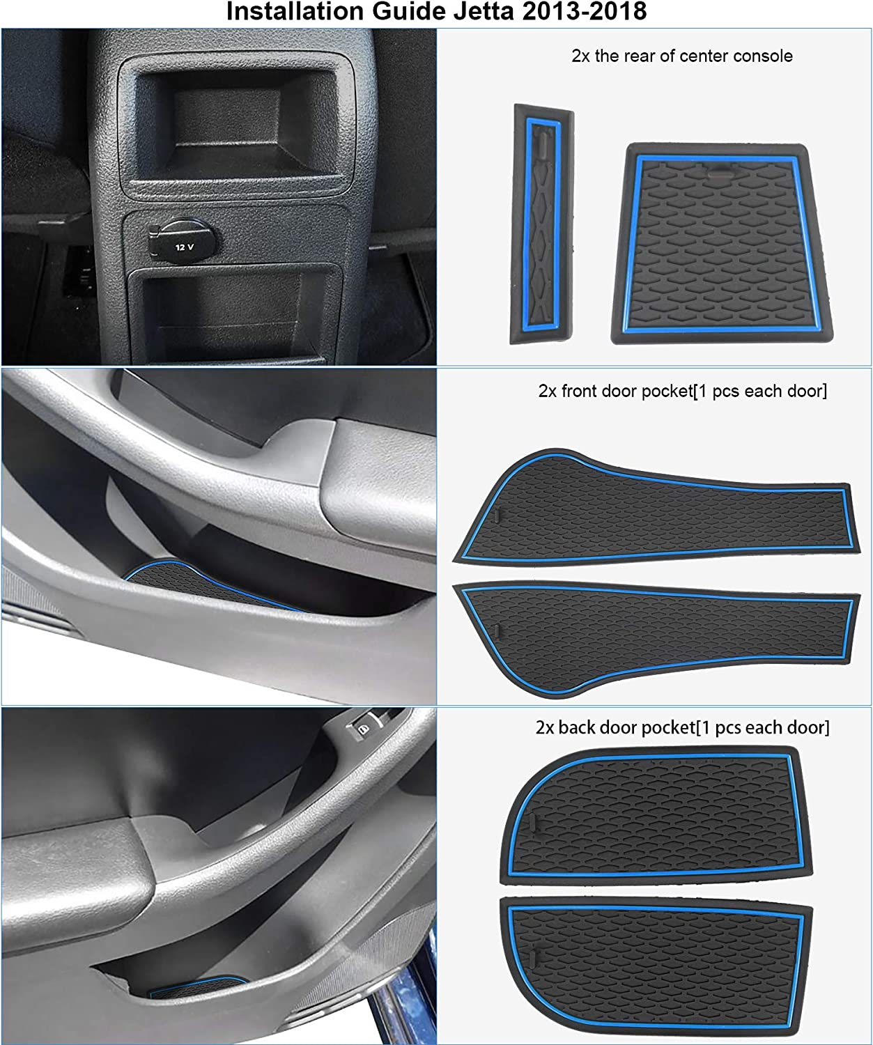 9pcs//Set Auovo Anti Dust Mats for Volkswagen Jetta 2013-2018 Custom Fit Door Compartment Liners Cup Holder Console Liners Interior Accessories Red