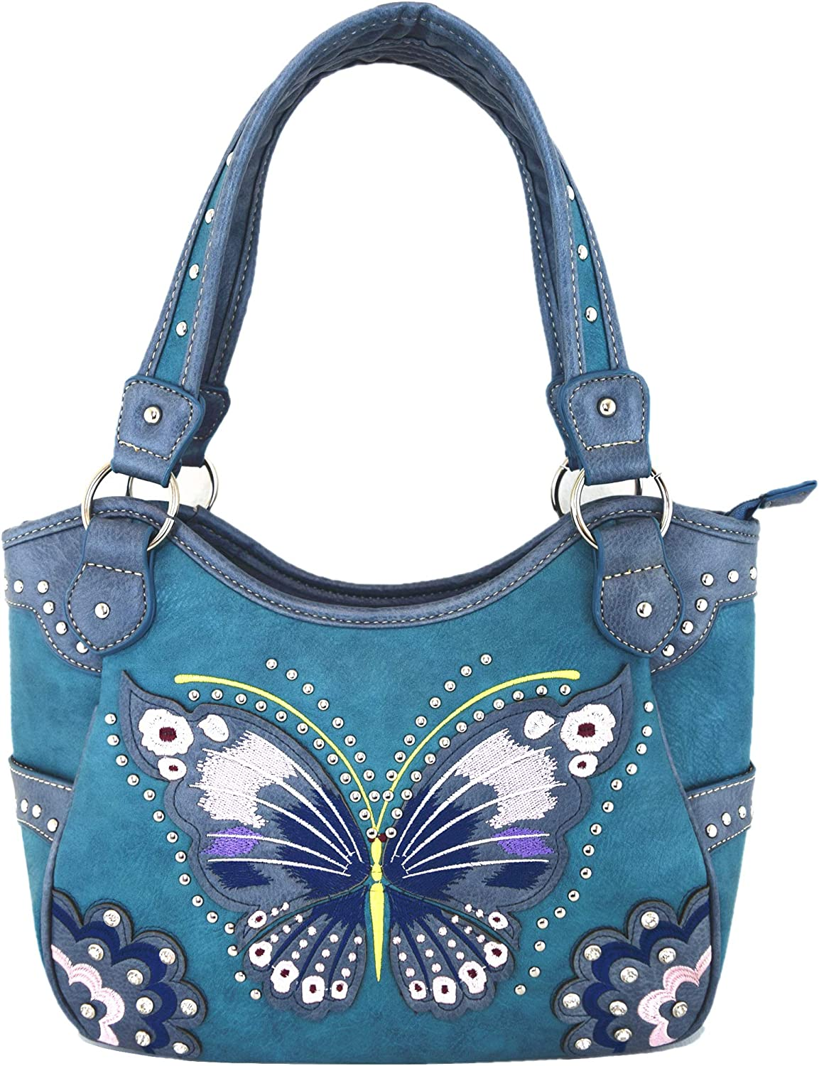 Western Style Butterfly Tooled Buckle Concealed Carry Purse Country Handbag Women Shoulder Bag Wallet Set