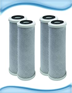 Compatible for CBC-10 0.5 Micron 10 x 2.5 Omnifilter CB3, GE FXUVC FXULC, Pentek CBC-10 Comparable Radial Flow Carbon Replacement Water Filters 4 PACK