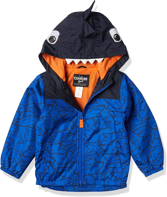 Osh Kosh Boys' Little Shark Hood Windbreaker Jacket Coat