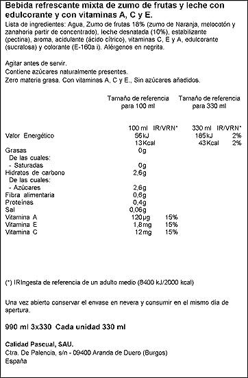 Bifrutas Zumo Leche Zero, Sabor Mediterráneo - Pack de 3 unidades (total 990 ml): Amazon.es: Alimentación y bebidas