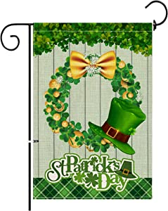 Hexagram St Patrick's Day Garden Flag,12x18inch Double Side Happy St Patrick Day Decorative, Lucky Shamrock Clover Buffalo Plaid Gold Coins Wreath Rustic Spring Burlap Flag Yard Outdoor Decorations