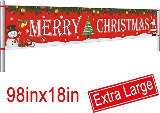 Large Merry Christmas Banner Outdoor Red Christmas Banner Decorations 8.2 x 1.5 FT Christmas Holidays Party Decor Supplies Xmas Outdoor /& Indoor Hanging Decor