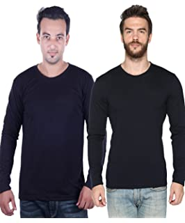 a0b4329f5 CHKOKKO Full Sleeve Cotton Casual Round Neck T Shirts for Men ...