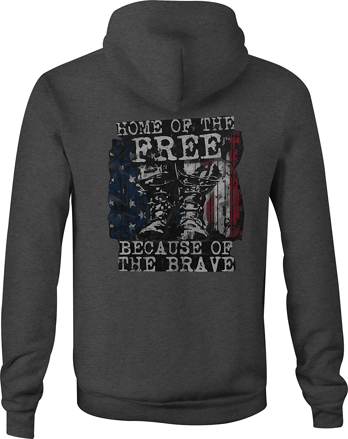 Zip Up Hoodie Home of The Free Because of The Brave Military Veterans - Med Gray
