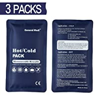 General Medi Hot & Cold Reusable Gel Pack Compress Wrap - Pack of 3 - Great for Migraine Relief, Sprains, Muscle Pain, Bruises, Injuries