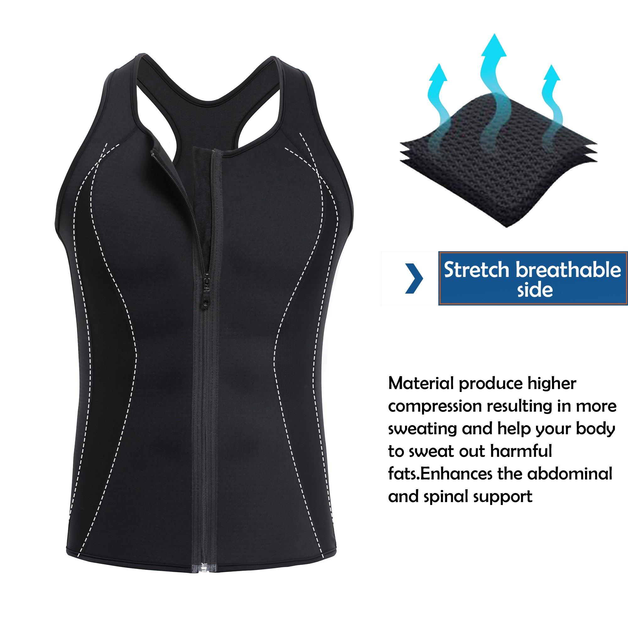 4299798738 TAILONG Men Hot Neoprene Workout Sauna Tank Top Zipper Waist Trainer Vest  Weight Loss Body Shaper Compression Shirt Gym Clothes Corset (Black Workout  Tank