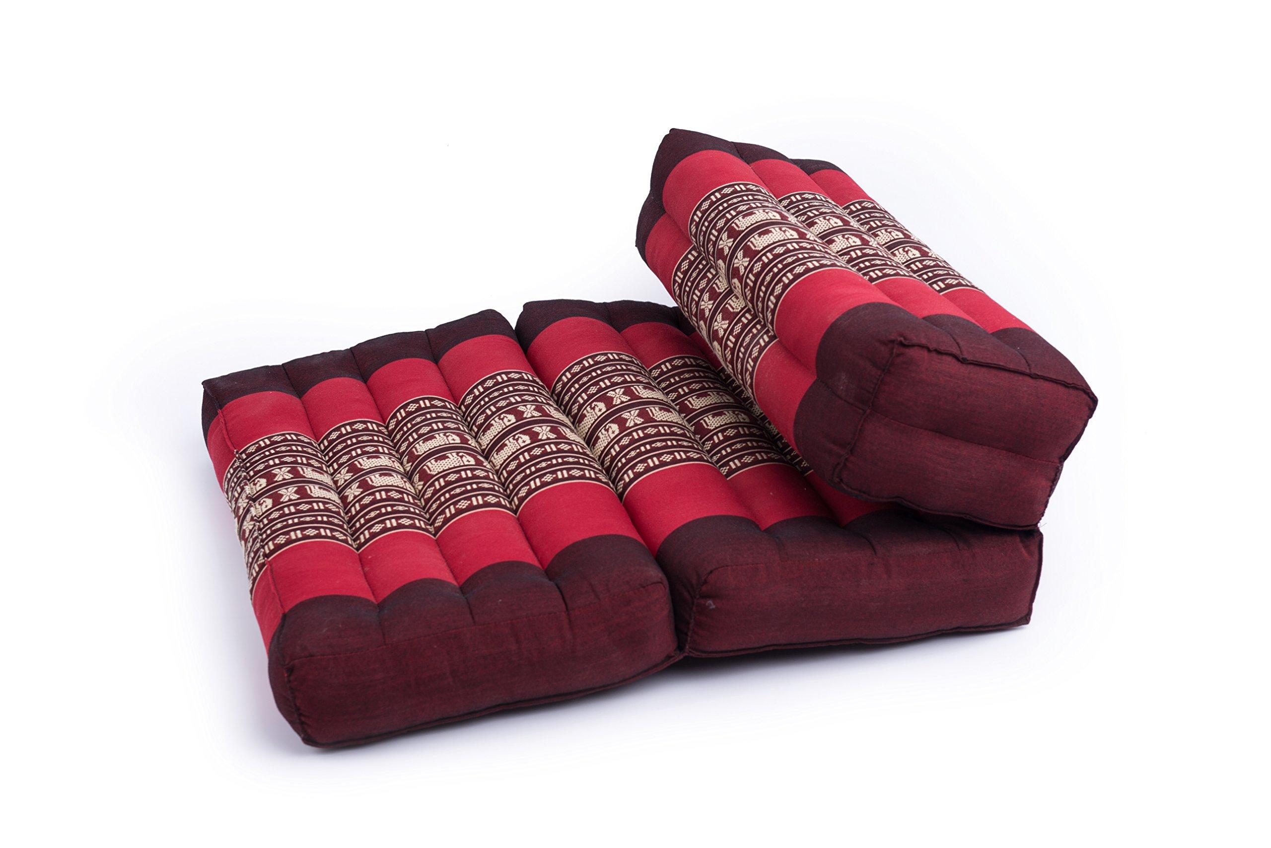 Foldable Meditation Cushion, 100% Kapok, Red Elephants by Kapok Dreams