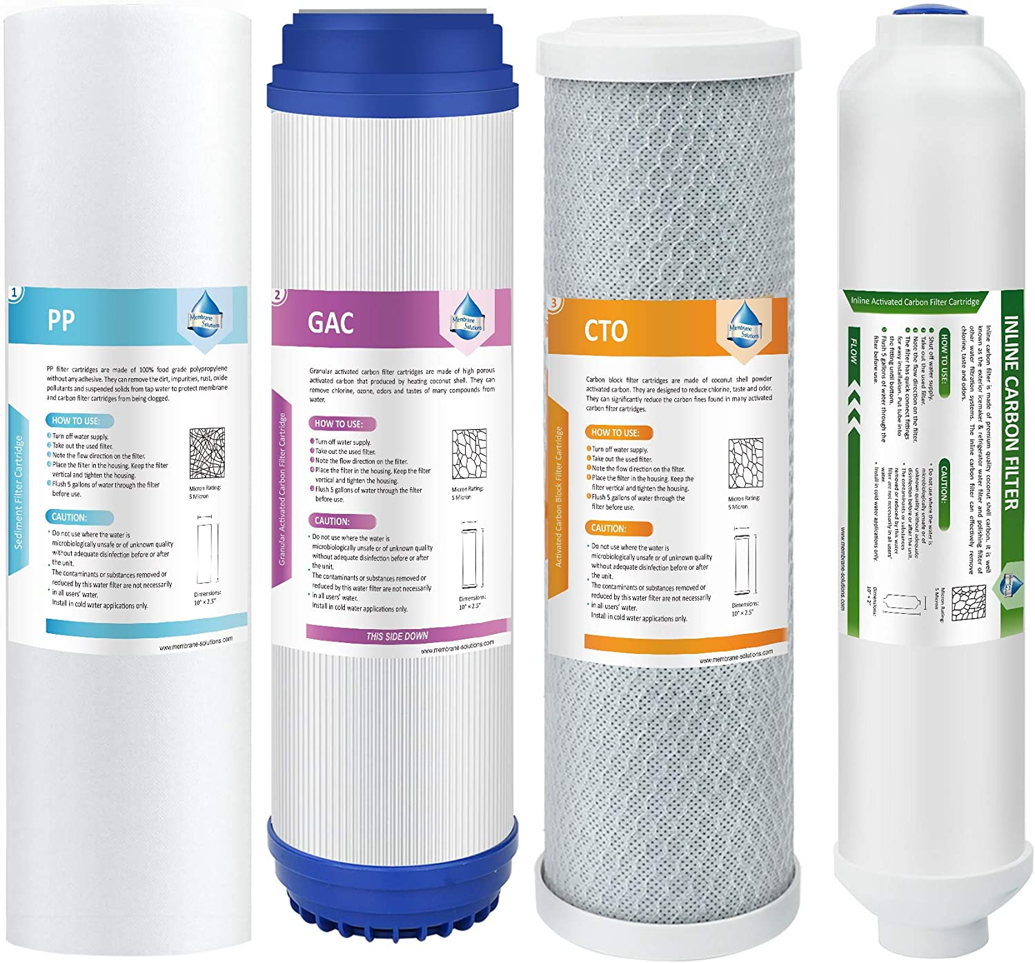 Membrane Solutions Reverse Osmosis Filter Replacement, Universal Compatible 4-5 Stage RO Replacement Filter Cartridge Set 6 Month for Reverse Osmosis Water Filter System(Not Included RO Membrane)