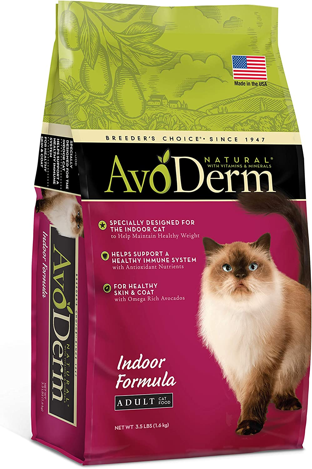 Avoderm Indoor Hairball Control Dry Cat Food, Chicken Meal Recipe, 3.5-Pound