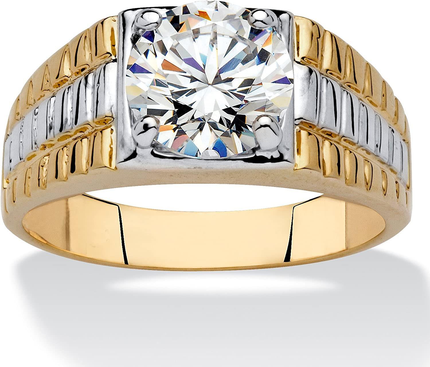 Palm Beach Jewelry Men's 14K Yellow Gold Plated Round Cubic Zirconia Two Tone Textured Ring