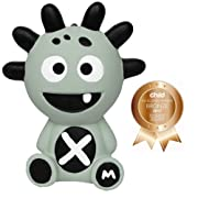 Mibblers Cute Happy Baby Chew Toy Unisex Teether Infant Toddler Favorite Rubber Teething Monster Self Soothing Animal Popular Gift Idea for Boys or Girls Grey