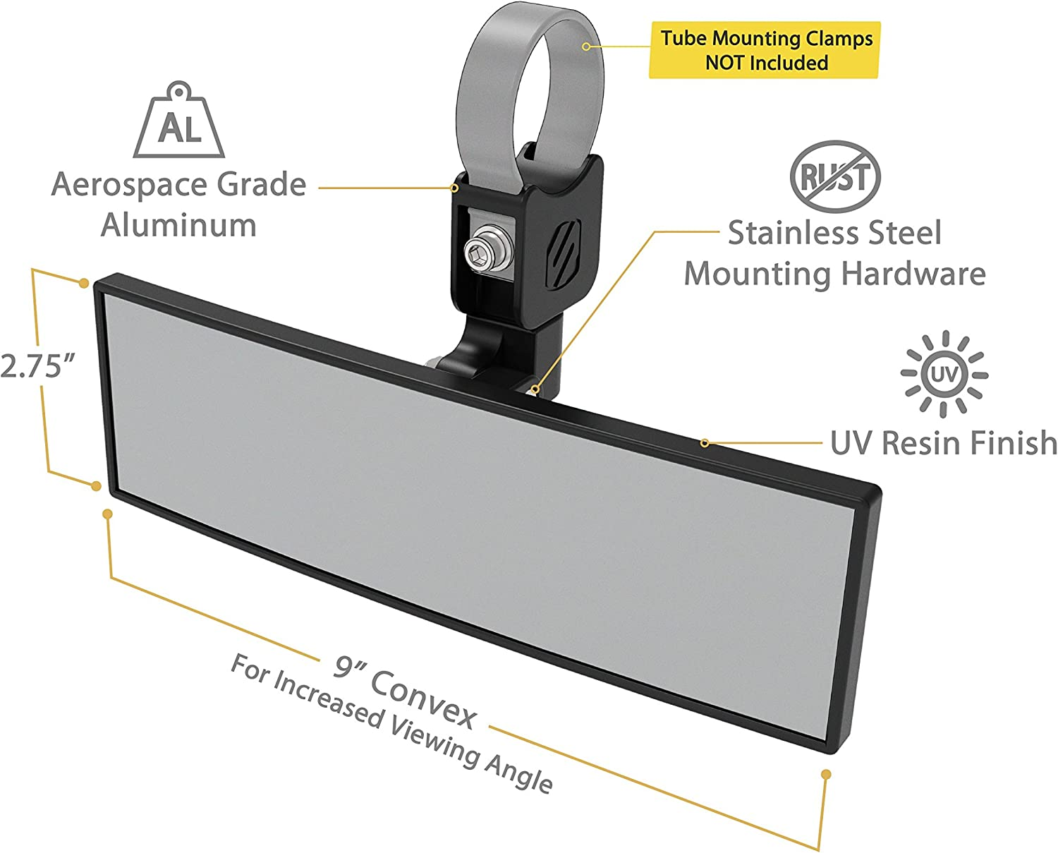 Scosche PSM21009 BaseClamp Panoramic Rearview Mirror Vehicle Base Mount