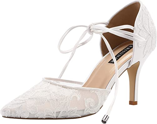 Amazon Com Erijunor Ivory Lace Mesh Satin Bridal Wedding Shoes