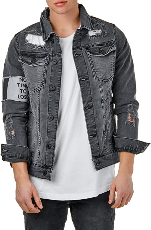 EightyFive Herren Jeans Jacke Used Denim Destroyed Slim Fit